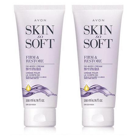 Avon Skin so Soft Firm & Restore DD Body Cream Broad Spectrum SPF 15 Sunscreen 200 ml Set of 2 ()