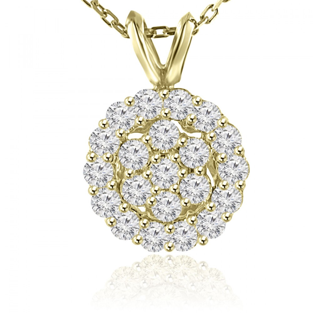 1.00 Ct Ladies Round Cut Diamond Pendant / Necklace Yellow Gold