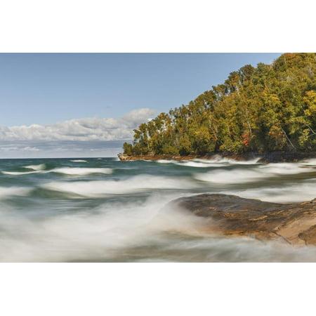 Waves on Lake Superior in fall, Pictured Rocks National Lakeshore, Michigan. Print Wall Art By Adam Jones - Lake Michigan Waves Halloween