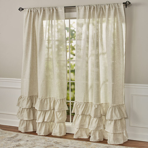 "Ruffled Burlap Curtain Collection-84"" Panel"