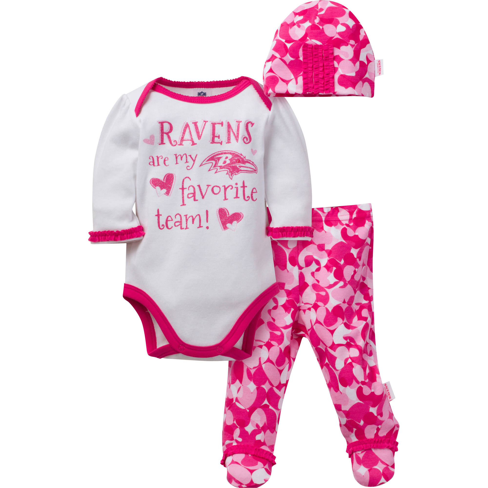 NFL Baltimore Ravens Baby Girls Bodysuit, Pant and Cap Outfit Set, 3-Piece