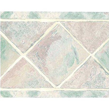 Tales Border - Wallpaper For Less GFB562 Sage Pink Bath Tile Wallpaper Border
