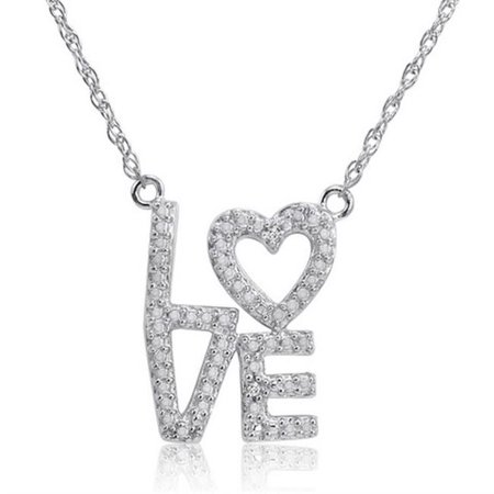 Amanda Rose Collection Sterling Silver & Diamond Heart in Love Necklace