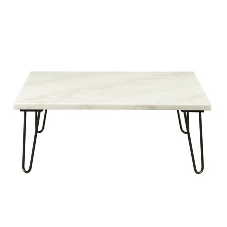 Acme Telestis Square Marble Top Coffee Table In And Gold
