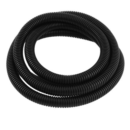 Plastic 12mm x 15.8mm Corrugated Wire Tubing Black 2M