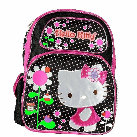 "Backpack - Hello Kitty - Flowers Black/Pink Large School Bag Girls16"" New 052811"