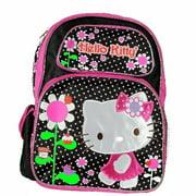 "Backpack - Hello Kitty - Flowers Black/Pink Large School Bag Girls16"" New 052811"