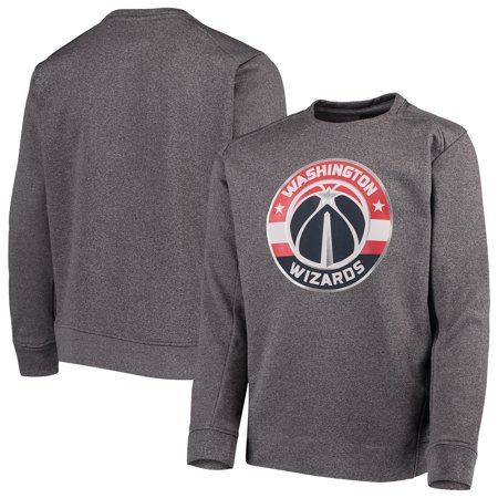 Washington Wizards Youth Performance Fleece Crew Sweatshirt - Heathered Gray Printed Performance Fleece