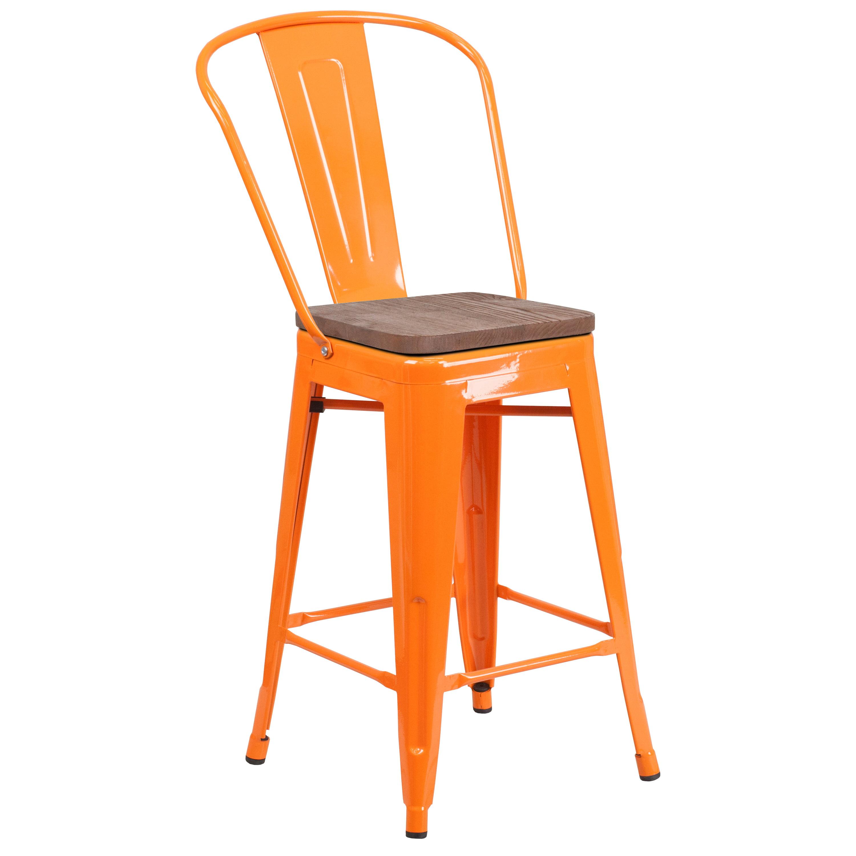 Flash Furniture 24 Quot High Orange Metal Counter Height Stool