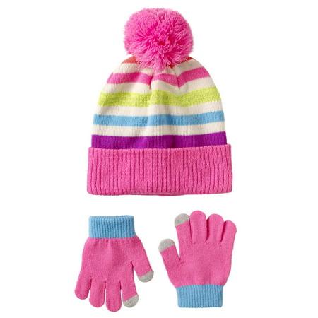 Hat Set (Pink Platinum Stripe Sequins Hat & Glove)