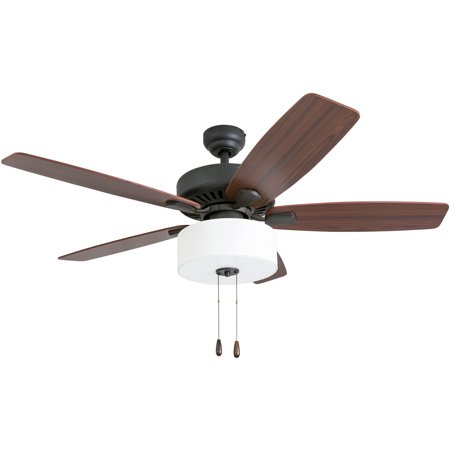 Prominence Home 50583-35 Greybrook Transitional 52-Inch Aged Bronze Indoor Ceiling Fan, LED White Linen Fabric Shade, Walnut / Hinoki