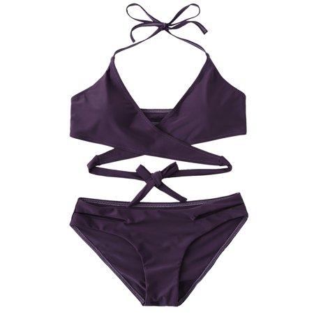 Bikinis Solid Ruched Bikini - Women's Sexy Suits Push-up Halter Bandage Ruched High Waisted Bottoms Bikini Swimsuits