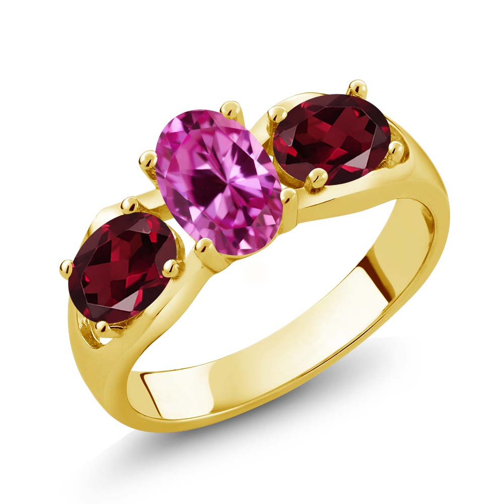 1.90 Ct Oval Pink Created Sapphire Red Rhodolite Garnet 14K Yellow Gold Ring by