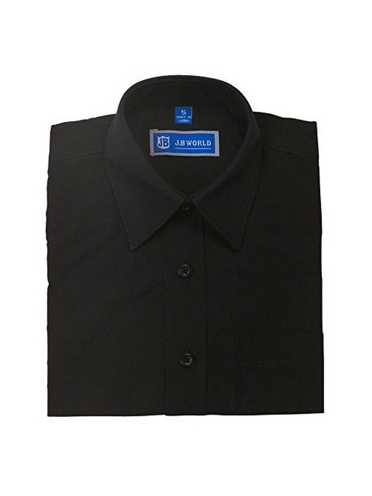 JB World Boys Black Long Sleeve No Button Collar Uniform Dress Shirt