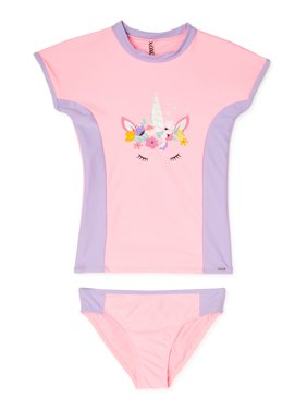XOXO Girls Unicorn Rashguard Swim Shirt and Bikini Bottoms, 2-Piece Swimsuit Set, Sizes 4-16