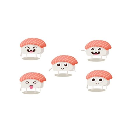 Set of Funny Sushi Characters with Cute Faces and Different Emotions. Asian Food Vector Illustration Humor Print Wall Art By Anastasia (Asian Round Face)
