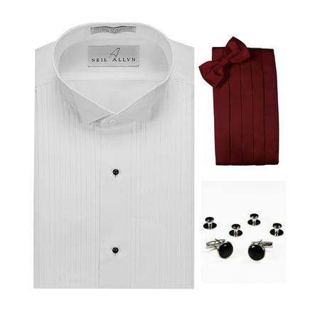 Wing Collar Tuxedo Shirt, Burgundy Cummerbund, Bow-Tie, Cuff Links & Studs Set