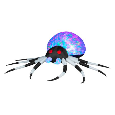 3' Projection Airblown Inflatables Kaleidoscope Black/White Spider Halloween Decoration](Inflatable Halloween Spider)