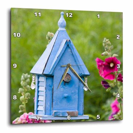 3dRose Illinois, USA - House Wren at blue nest box new Hollyhocks, Wall Clock, 10 by (Wren Nest Box)