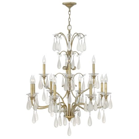 Fredrick Ramond Francesca - Twelve Light 2 Tier Chandelier, Silver Leaf Finish with Etched Crystal Tear Drop Glass