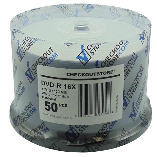 50 CheckOutStore 16X DVD-R 4.7GB ARCHIVAL Hard Coat White Inkjet Hub