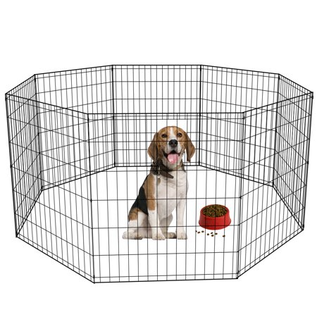 30-Black Tall Dog Playpen Crate Fence Pet Kennel Play Pen Exercise Cage -8 Pa...