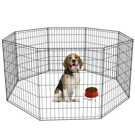 30-Black Tall Dog Playpen Crate Fence Pet Kennel Play Pen Exercise Cage -8