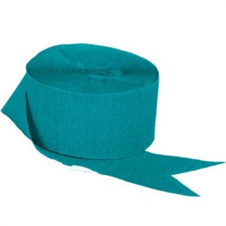 teal crepe paper streamers, 2 rolls, 145 ft total, made in (Teal Crepe)
