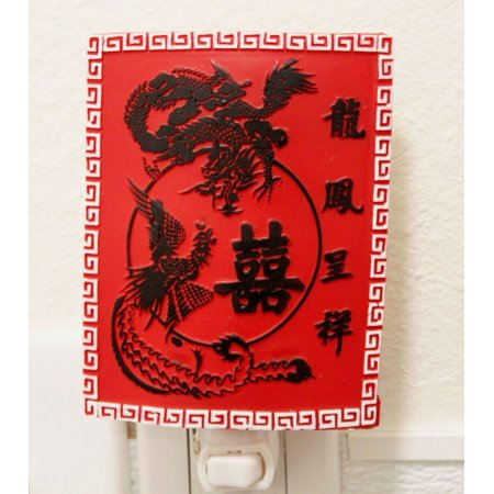 Dragon Phoenix Happy Wedding Oriental Night Light Lamp Candle Home Decor -D