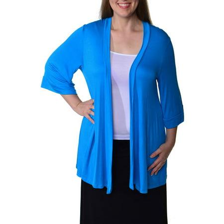Women's Plus Size 3/4 Sleeve Open Shrug