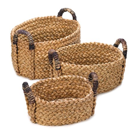 Woven Baskets For Storage, Decorative Wicker Baskets, Straw (set Of - Wicker Storage Baskets