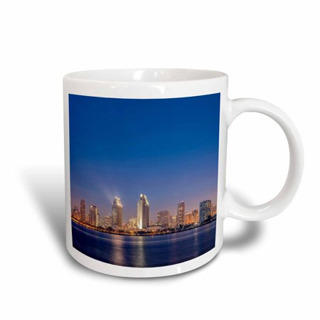 3dRose USA, California, Coronado Island, San Diego Skyline at Twilight. - Ceramic Mug,