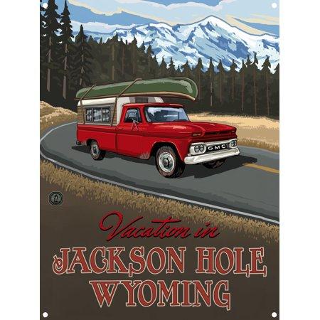 Wyoming Roads - Jackson Hole Wyoming Pickup Road Trip Snow Metal Art Print by Paul A. Lanquist (9