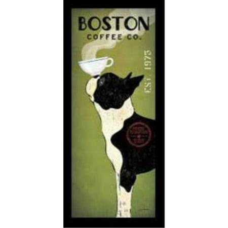 Buyartforless Framed Boston Terrier Coffee Co Panel Ryan Fowler Vintage Ads Dogs Pets Print Poster 8X20
