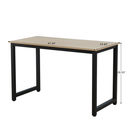 Clearance! Wood Computer Desk, 47.2'' Large Study Writing Desk with MDF Tabletop Board and Black Iron Frame, Easy to Assemble, PC Laptop Computer Table for Waiting Room, 300 lbs, Natural,