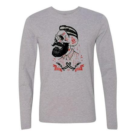 f94140c0f3b27c Custom Apparel R Us - Beard Deep Cuts Skull Tattoo Mens Long Sleeve T-Shirt  - Walmart.com