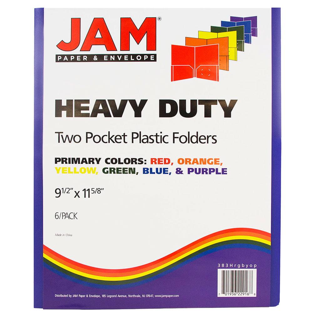 JAM Paper Plastic Heavy Duty Plastic 2 Pocket School Presentation Folders - Assorted Primary Colors - 6/pack - image 1 of 2