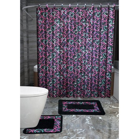Hearts 15 Piece Love Bathroom Accessories Set Rugs Shower Curtain Matching Rings Black Pink