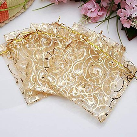 Champagne Mesh Storage Bag Gold Drawstring Gift Bags Party Wedding Festival Favor Present Bags - Present Bag