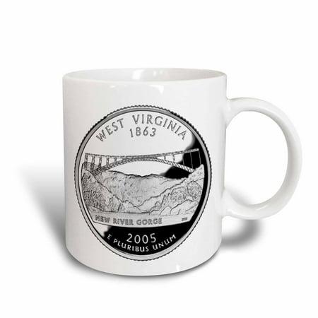 - 3dRose State Quarter of West Virginia (PD-US), Ceramic Mug, 11-ounce