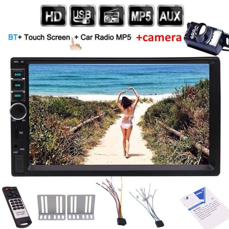 Backup camera+Universal 7'' 2 Din Bluetooth Car Audio MP5 Player double din head unit car PC system with HD Touch Screen In Dash Media Stereo Radio No DVD/CD player support Remote Controller ()