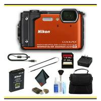 Nikon COOLPIX W300 Digital Camera (Orange) Starter Bundle - (Intl Model)