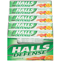 Halls Defense Vitamin C Supplement Drops Stick, Assorted Citrus - 9 Sticks/ Pack, 20 / Case