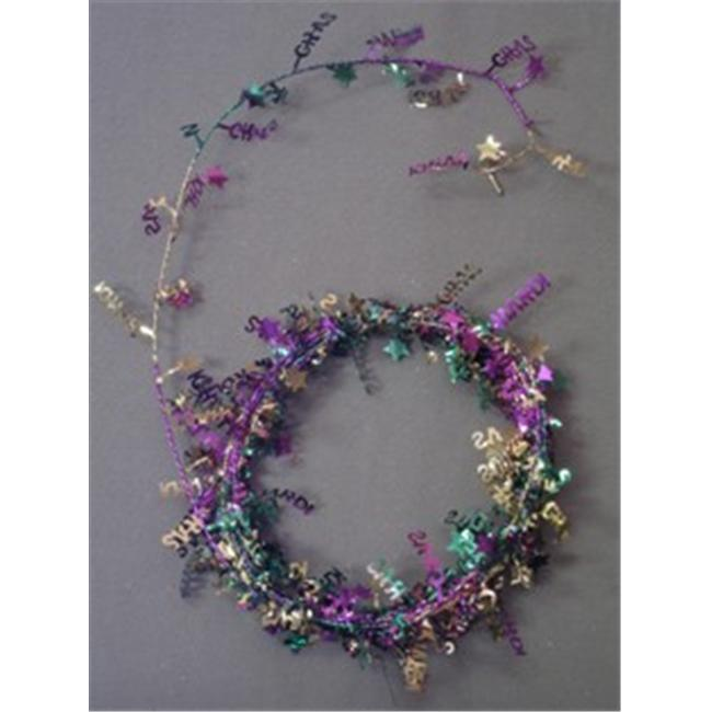 Party Deco 14534 9 ft. Purple- Green and Gold  in.Mardi Gras in. Wire Garland - Pack of 13