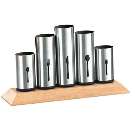 Bruntmor, 18/8 Stainless Steel Flatware Organizer Holder Caddy With Wood Base, Service for 12 ()