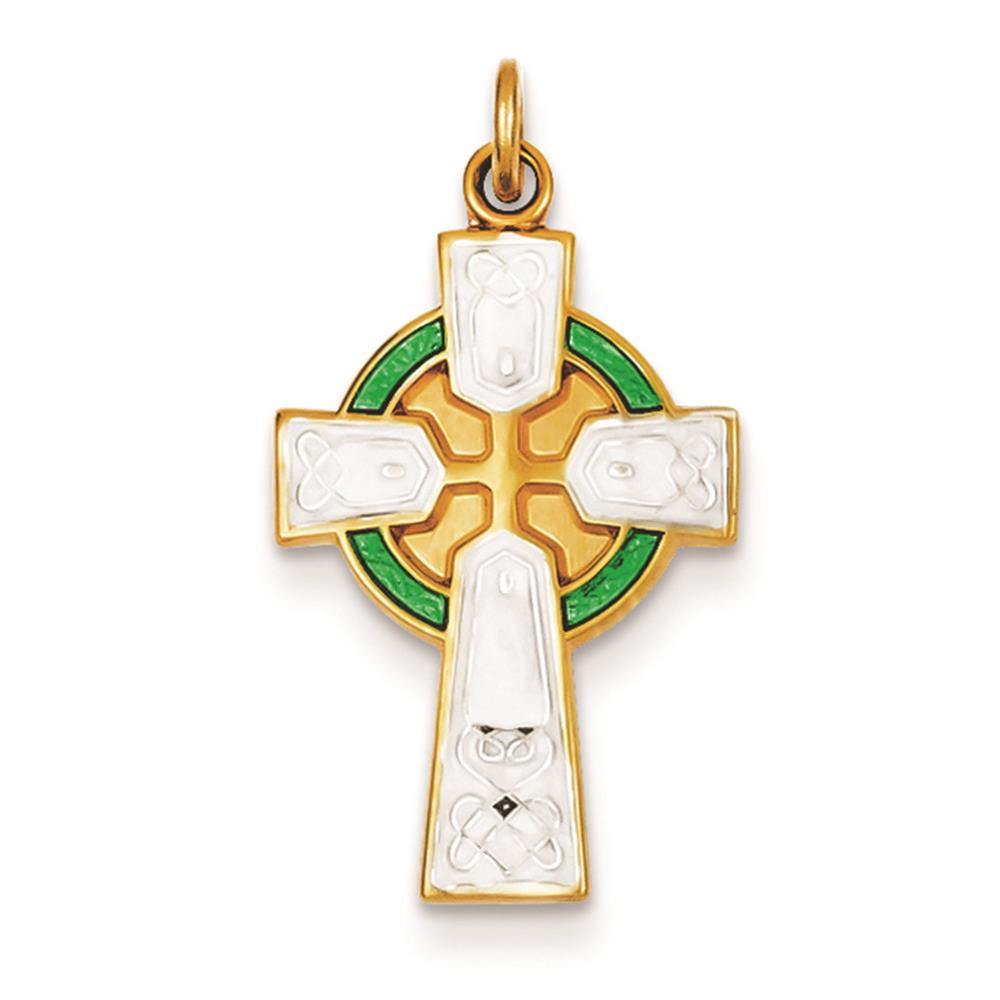 925 Sterling Silver & Gold-plated Polished Epoxy Irish Cross Charm Pendant