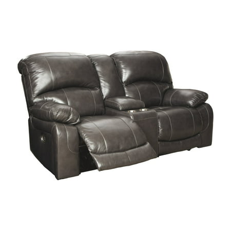 Signature Design by Ashley Hallstrung Power Reclining Loveseat with Console and Adjustable Headrest