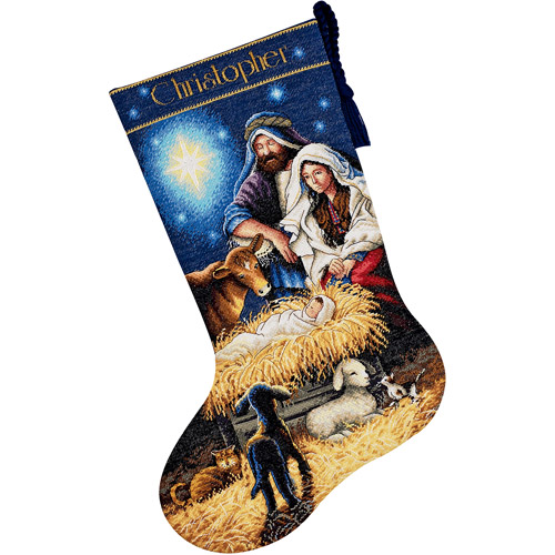 Holy Night Cross-Stitch Christmas Stocking Kit
