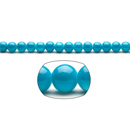 Sky Blue Pearls 8mm Solid-Tone Glass Beads 2x16Inch/pack (3-pack Value Bundle), SAVE $2