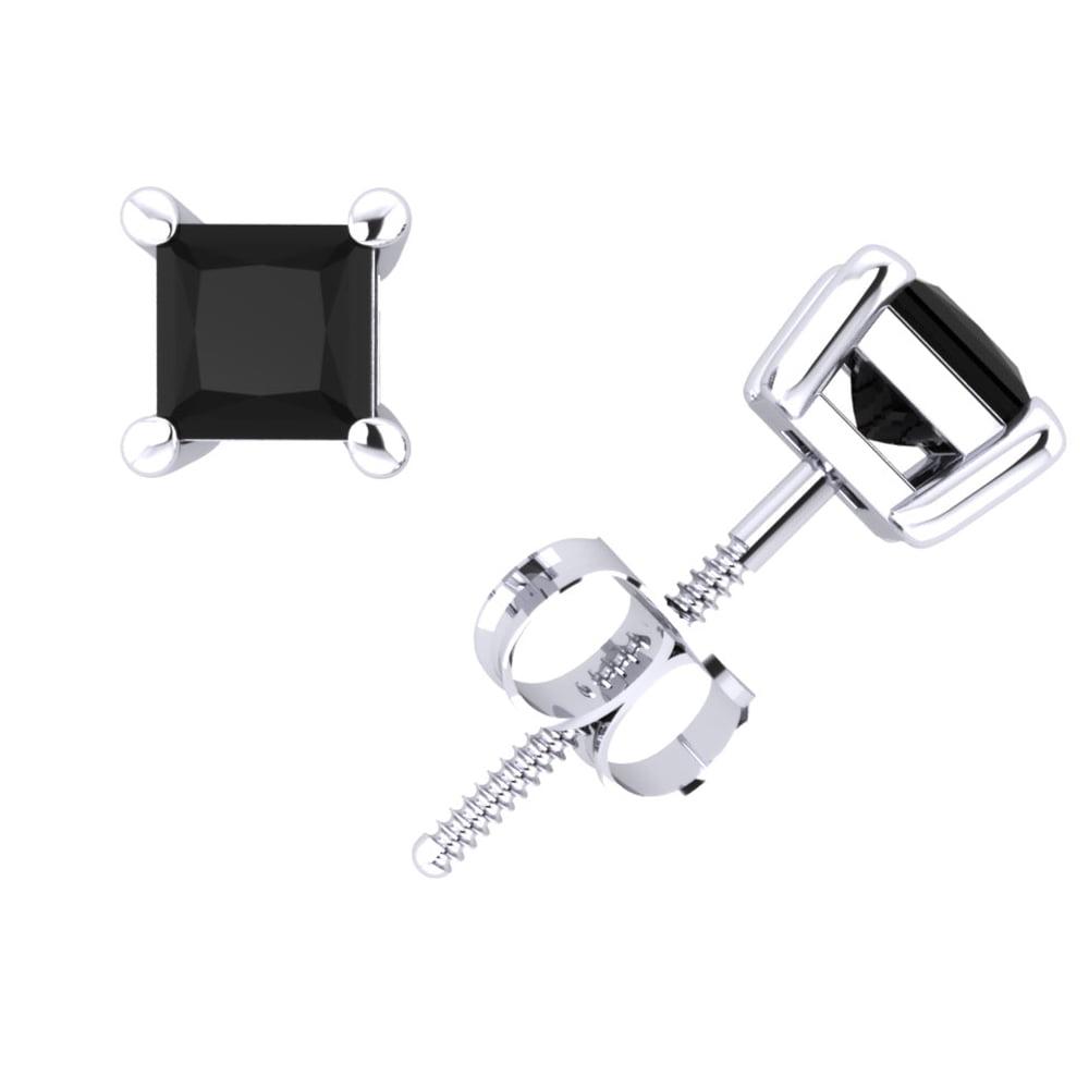 0.50CT Princess Cut Black Diamond Basket Stud Earrings 14Karat White Gold Prong I1